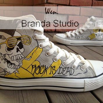 Rock Style ,Skull Design Studio Hand Painted Shoes 51.99Usd,Paint On Custom Converse Shoes Only 91Usd,Buy One Get One Phone Case Free