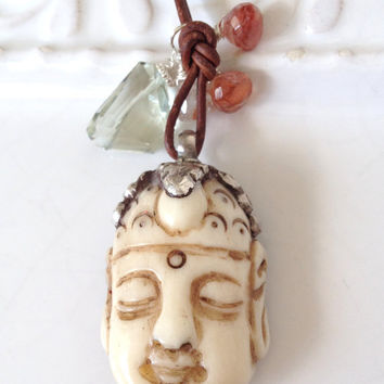 Long Layering Leather Necklace w Sterling Silver Carved Bone Buddha Pendant, Green Amethyst Free Form Nugget, Boho Chic Long Yoga Necklace