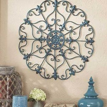 Teal Antiqued Finish  Iron Wall Medallion Scrolled Patio Wall Art Home Decor