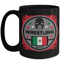 Mexico Flag Masked Wrestling 15 oz Black Coffee Cup