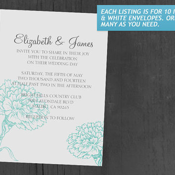 Custom Modern Aqua Wedding Invitations | Invites | Invitation Cards