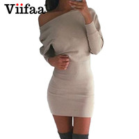 Viifaa 2017 Sexy One Shoulder Dress Women Casual Batwing Sleeve Dress Autumn Winter Long Sleeve Bodycon Sexy Dresses