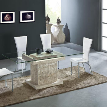 Travertine Dining Table Set Luxury High Quality Natural Stone Marble Dining Furniture Rectangle Table NB-166