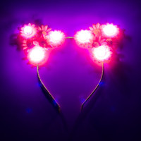 Neon LED Cat Ear Headband, Floral Cat Ears, Burning Man Clothing, TomorrowWorld, TomorrowLand, Escape Music Festival, Electric Zoo, PLUR
