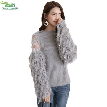 Knitted Fur Spliced Long Sleeve Pullover Sweater