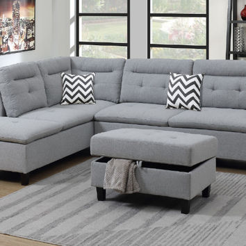 Poundex F6589 3 pc martinique II grey linen like fabric sectional sofa with reversible chaise and storage ottoman