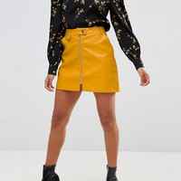 Fashion Union Petite Mini Skirt In Faux Leather With Zip Detail at asos.com