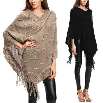 Poncho Cape Shawl Sweater Pull Tassel Knitted Batwing Sleeve V-neck Asymmetric Pullover