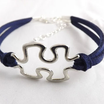 Puzzle Piece Bracelet, Autism Awareness - Made in the USA - friendship bracelet - inspiration bracelet