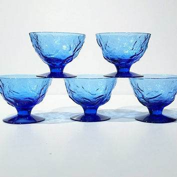 Set of 5 Blue Crinkle Glass Dessert Cups, Morgantown Seneca Driftwood, Footed Dessert Cups