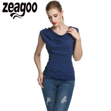 Zeagoo Women Casual T-shirt Cowl Neck Sleeveless Ruched Slim Fit Tank Top