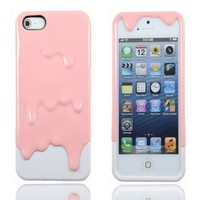 3D 2in1 Pink&White Melting Ice Cream Case Back Hard Cover For iPhone 5 5G