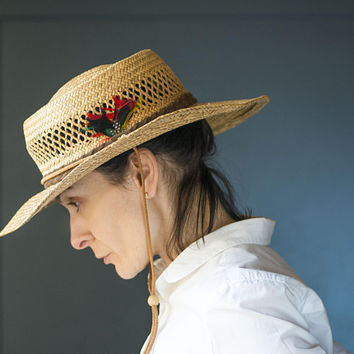 Retro women's sun hat straw. Handmade natural straw fedora. Beach hat suede ribbon feathers. Safari hat retro lady wide brim head wear gift