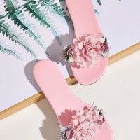 Floral Applique Flat Sliders