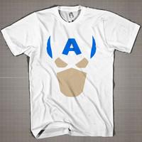Captain America Mini Face  Mens and Women T-Shirt Available Color Black And White