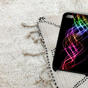 Rainbow Light Effect iPhone 5 iPhone 4 / 4S Plastic Hard Case Soft Rubber Case