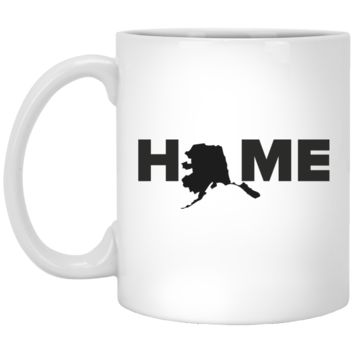 "Alaska ""Home"" State Outline Coffee Mug – AK Pride Sayings and Quotes Tea Travel Cup – Nice Unique Gift For Mom or Family Member"