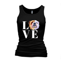 Ladies tank t-shirt, english bulldog, womens clothing