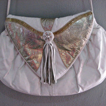 80s METALLIC faux leather purse - WHITE gold shiny triangle flap large size pouch clutch - vegan leather tassel clear stud - artsy boho lg