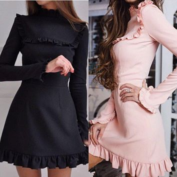2017 Autumn Women Fashion Ruffles Dress Casual Turtleneck  Butterfly Sleeve dresses Elegant Party Long sleeve female Vestidos