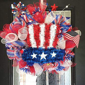 XL Fourth of July, Patriotic Wreath, Door Hanger, Decoration Ready to Ship
