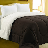 """Four Seasons Bedding Collection Queen Size Sherpa Reversible Comforter (86"""" x 86"""") - Chocolate"""