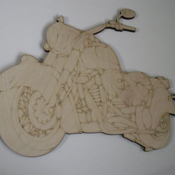 Motorcycle Wood Cutout, Laser Cutouts, Unfinished Wood, Home Decor, Motorcycle Wall Art, Biker Gift, Wreath Accent, Ready to Paint Art