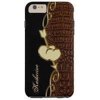 Golden Hearts Alligator iPhone 6 Plus Monogram