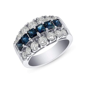 Luxinelle 2.88 Carat Big Blue Sapphire and Diamond Ring in 14K White Gold by Luxinelle® Jewelry