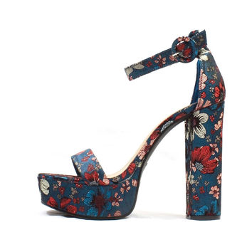 Platform Teal Embroidered | Wowtrendz | Chunky Heel Sandals
