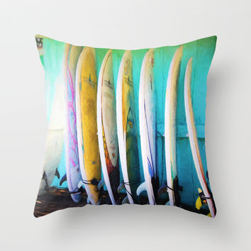 surfboards Throw Pillow by Sylvia Cook Photography
