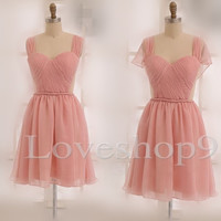 Elegant Short Pink Bridesmaid Dresses Prom Dresses Evening Dresses Formal Party Occasions Wedding Events 2014