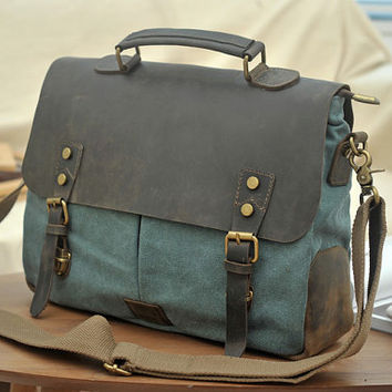 blue-green messenger bag , canvas bag , student bag , clutch bag , travel bag , Diaper bag , bags