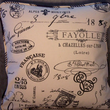 "Ivory French Script Pillow -  Striped Welting, 18"" Square, Insert Included, Ready Ship, Document Print, Ivory w/ Black Postmarks & Ads"