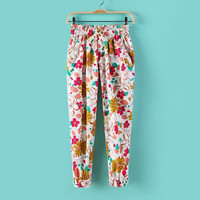 Floral Print Drawstring Waist Sweat Pants
