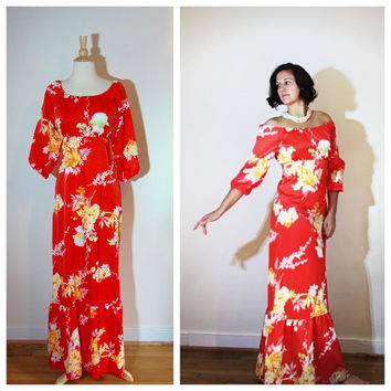 Hawaiian Maxi Dress Off Shoulder Bright Orange and Yellow Tropical Hibiscus Flower Print Quarter Sleeves Cruise Vacation Lounge Wear size M