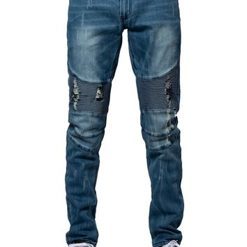 Sunset Skinny Moto Jeans- Bleach Indigo