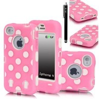E LV Full Body Hybrid Dual Layer Armor Defender Case for for iPhone 4S, 4 Bundle with Screen Protector, Stylus and Microfiber Digital Cleaner - Pink-White