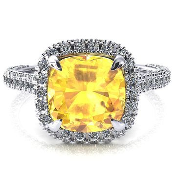 Taniya Cushion Yellow Sapphire 4 Claw Prong Halo 3/4 Eternity 3 Sided Diamond Shank Cathedral Engagement Ring
