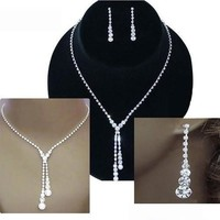 Deluxe Rhinestone Lariat Choker Necklace and Earring Set