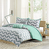 Nadia Reversible Comforter Set in Teal