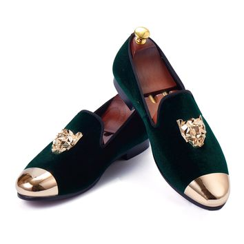 Harpelunde Men Loafer Shoes Animal Buckle Green Velvet Slippers Handmade Flats Gold Cap Toe Wedding Shoes Size 6-14