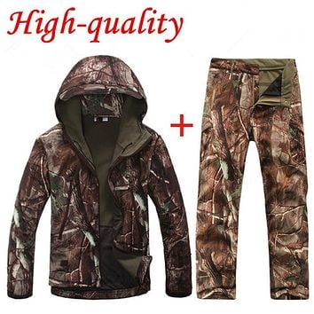 High quality TAD V 4.0 Men Outdoor Hunting Camping Waterproof Windproof Polyester Coats Jacket Hoody TAD softshell Jacket+pants