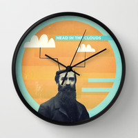 head in the clouds Wall Clock by Pope Saint Victor