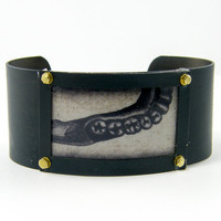 Anatomical Cuff Bracelet - Teeth Oddity Curiosity Tan Black Body Part Picture Bold Statement Jewelry Photo Cuff