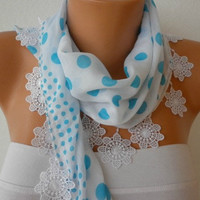 White  Scarf   Cotton Scarf  Headband Necklace Cowl by fatwoman/89030102/