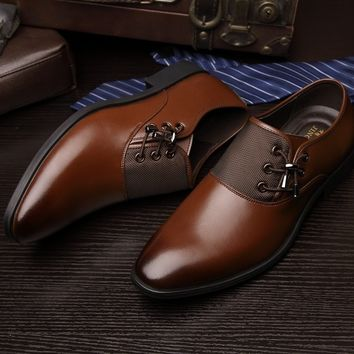 2018 New Arrival Men Business Shoes for Man Leather Dress Shoe Men's Fashion Casual Oxford Shoes Best Gift For Men( Plus Size 38