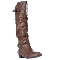 Material Girl Cresta Low-Heel Knee-High Boots - Brown