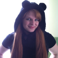 Valentine's Hand Knit Black Beauty Bear Hooded Cowl Women's Gift