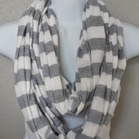 Preppy Striped Infinity Scarf Nursing Blanket White and Grey Fall Scarf Womens Fashion Scarves Back to School Chunky Scarf Knit Scarf